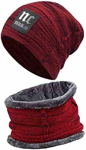 73e9940c5d37b6 Hat Scarf Set Winter Beanie Warm Knit Hat Fleece Lined Scarf Warm Winter Hat  for Men