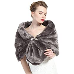 Faux Fur Shawl Wrap Stole Shrug Winter Bridal Wedding Cover Up Stone Gray Size L