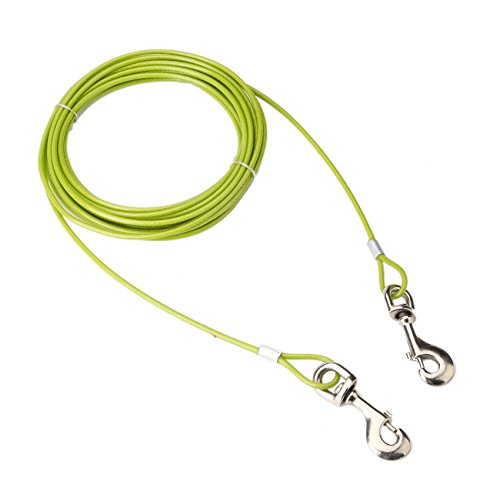 EXPAWLORER 30ft Dog Tie Out Cable with Swivel Clip Tangle Free for Dog Up to 120 lbs, Outdoor, Yard and ()