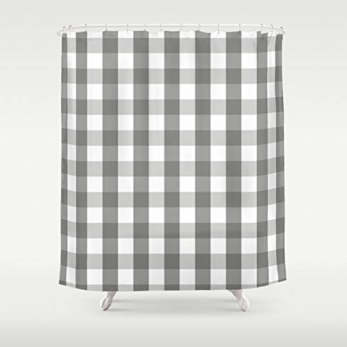 Amazon Warm Gray Plaid Shower Curtain