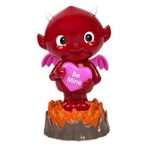 Solar Powered Dancing Devil in Flames Holding BE MINE Love Heart. – Bobble head –Gift for your Valentine , loved one , Valentines Day , Dashboard , Office , Desk - Valentines Dance Ideas Day