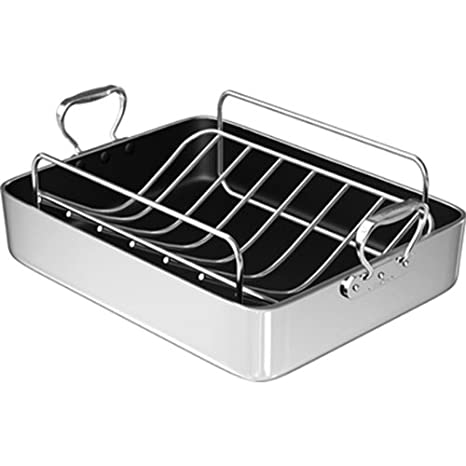 Wolfgang Puck Stainless Steel Roasting Pan with Rack 16.5 Inch