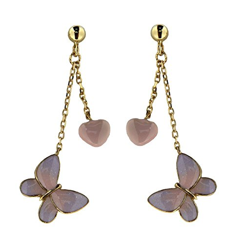 18K Yellow Gold Pink Heart and Lilac Butterfly Enamel side and back Satin finish gold Dangle Post Earrings 1.5 inch L. by Amalia