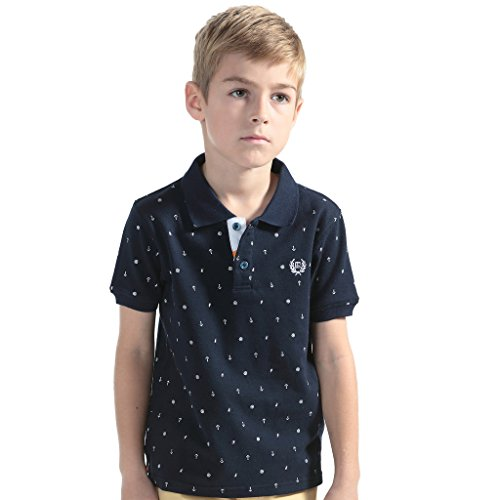 Leo&Lily Boys' Kids' Combed Pique Anchor Print Rugby Polo Shirts 7 Navy (Embroidered Print Rugby)