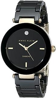 Anne Klein Reloj de cerámica redondo, color negro diamond para mujer