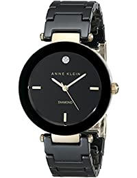 Anne Klein Women's AK/1018BKBK Black Ceramic Bracelet Watch with Diamond Accent