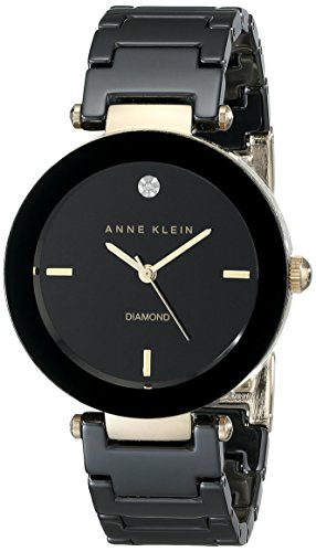 - Anne Klein Women's AK/1018BKBK Black Ceramic Bracelet Watch with Diamond Accent