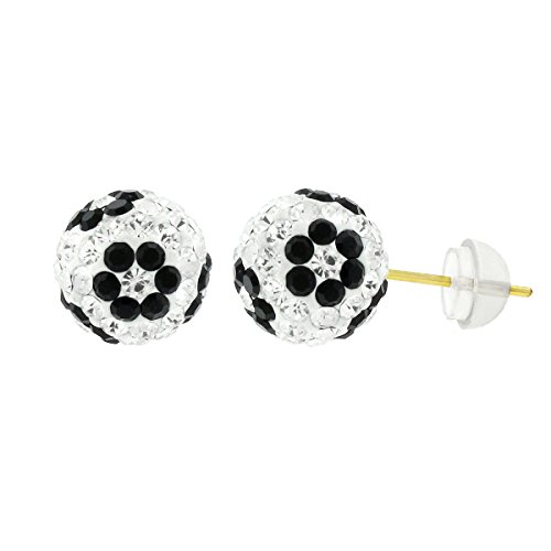 14k Yellow Gold Womens 8mm Swarovski Elements Crystal Disco Fire Ball Studs Earrings (White/Black Flower)