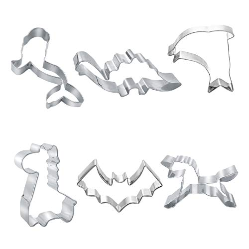 Cookie Cutters Set for Kids - Set of 6 Dinosaur, Mermaid, Dolphin, Unicorn, Bat Stainless ()