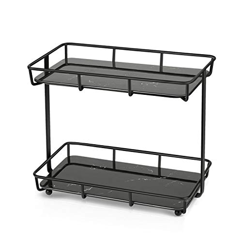 Bathroom Countertop Organizer, 2-Tier Standing Rack Vanity Tray Cosmetic Makeup Storage, Black