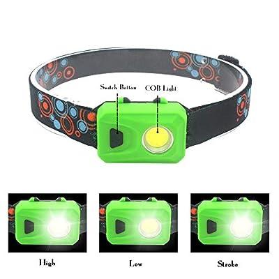 COB LED Headlamp Flashlight, Running Headlamp with 3 Lighting Modes, Lightweight Headlamp for Camping Reading Repairing, 4 Pack