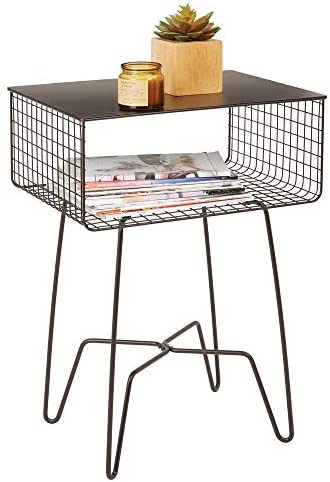 mDesign Modern Farmhouse Side/End Table – Solid Metal Design, Open Storage Shelf Basket, Hairpin Legs – Sturdy Vintage, Rustic, Industrial Home Decor Accent Furniture for Living Room, Bedroom – Bronze