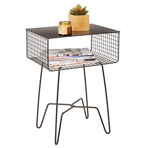 (mDesign Modern Farmhouse Side/End Table - Solid Metal Design, Open Storage Shelf Basket, Hairpin Legs - Sturdy Vintage, Rustic, Industrial Home Decor Accent Furniture for Living Room, Bedroom - Bronze)