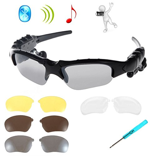 WONFAST¨ Black Bluetooth Sunglasses Sun Glasses Music Handsfree Headset Headphones for Smart Phone PC Tablet IPHONE6