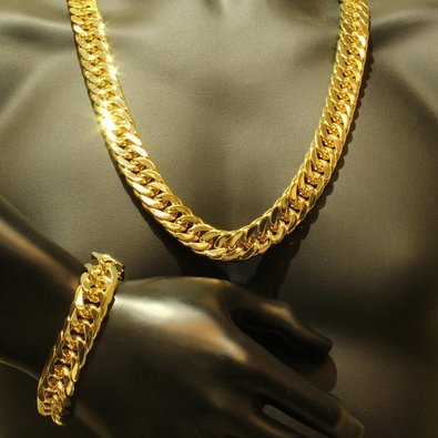 Mens Thick Tight Link Yellow Gold Finish Miami Cuban Link Chain And  Bracelet Set 3215e718479