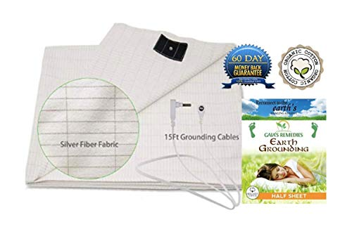 Earthing Grounding Half Sheet with Grounding Cord - Organic cotton • Anti Microbial Silver fiber - EMF Protection & Anti-Radiation Shield for Better Sleep, Reduce Pain & Inflammation – EMF Neutralizer - Fibre Protection