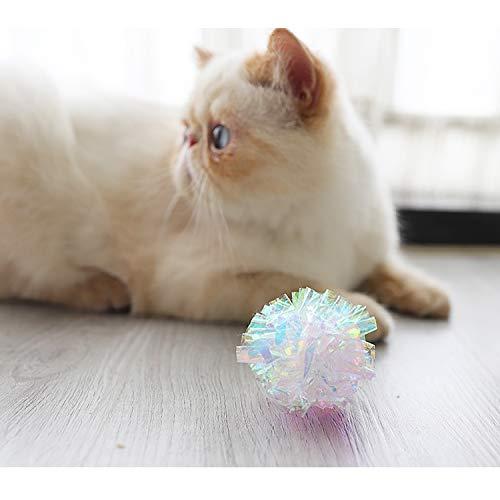 Yangbaga Dye Free Crinkle Cat Toys Balls, 2x1.4x1.2in Lightweight, 20 PCS 6