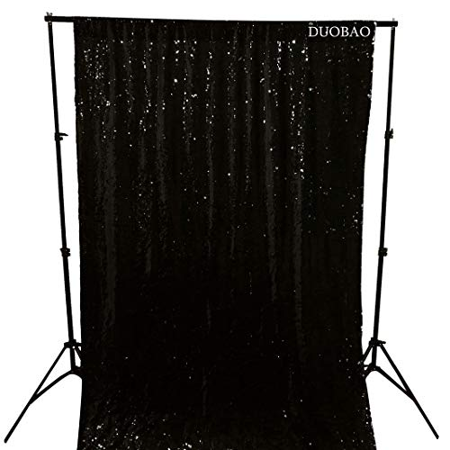 DUOBAO Sequin Backdrop Curtains 2 Panels 4FTx8FT Reversible Sequin Curtains Black to Silver Mermaid Sequin Curtain for Wedding Backdrop Party Photography Background by DUOBAO (Image #2)