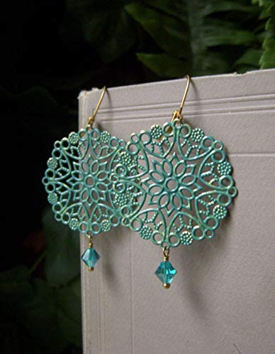 (Teal Filigree Earrings, Lightweight Lacy Round Brass, Hand Patina Boho Style)