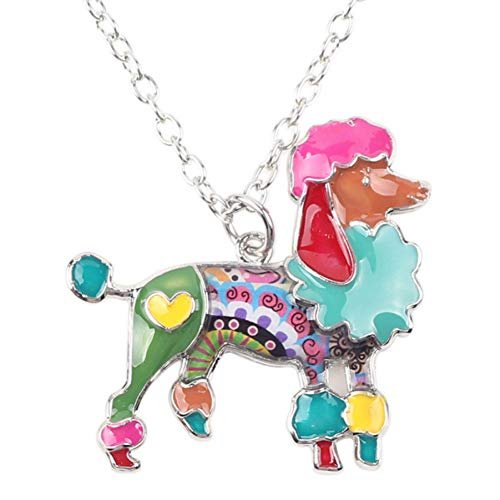 AISHIPING Statement Enamel Metal Poodle Dog Necklace Pendants Collar Chain Accessories Animal - Pearl Poodle