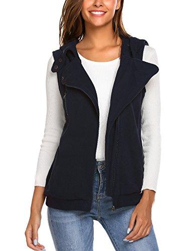 Beyove Women's Oblique Zip Up Fleece Casual Hoodie Vest with Pockets Navy Blue L (Knit Hoodies For Women)