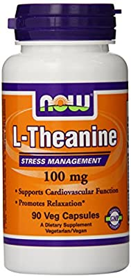 NOW L-THEANINE 100 MG with Decaffeinated Green Tea - 90 Vegetarian Capsules