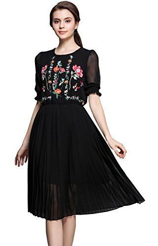 Women's Short Sleeve Mexican Embroidered Floral Pleated Midi A-line Cocktail Dress (M) Black]()