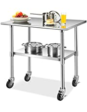 Giantex 36 × 24 Inches NSF Stainless Steel Table w/ 4 Caster Wheels, Commercial Work Prep Table with Adjustable Lower Galvanized Shelf, Heavy Duty Metal Table for Restaurant, Kitchen