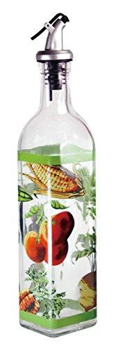 Regal Bottle Stopper - Grant Howard Hand Painted Square Cruet with Pourer, Veggies, 16 oz., Multicolor