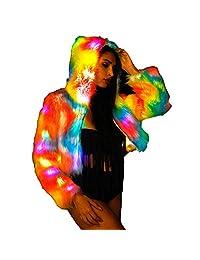 General Women Faux Fur Outwear Winter Light Up Glow Fluffy Sparking Rainbow LED Coat