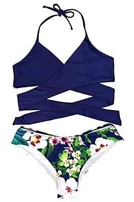 Cupshe Fashion Women's Solid Color Top Printing Bottom Halter Bikini Set