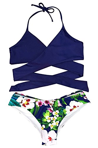 Cupshe Fashion Women's Solid Color Top Printing Bottom Halter Bikini Set (S, Blue)