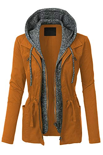 FASHION BOOMY Womens Zip Up Military Anorak Jacket W/Hood (Large, NL_Camel) ()