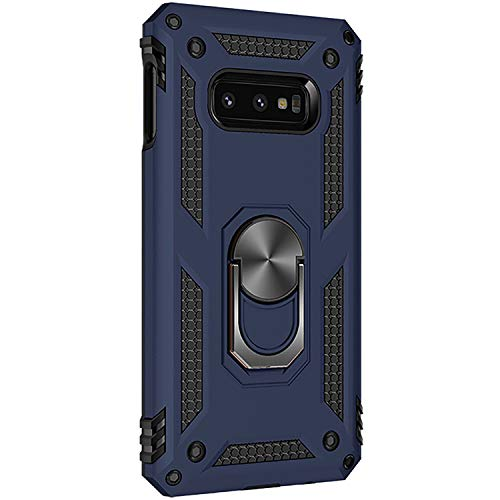 (Samsung Galaxy S10e case Hard Shell Military Duty Protective Cover with Holder 360° Ring Grip Cases for Magnetic Car Mountng Grip Cases for Magnetic Car Mount (Blue))