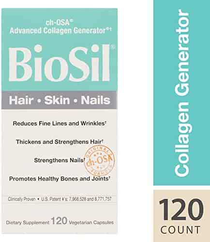 BioSil by Natural Factors, Hair, Skin, Nails, Supports Collagen Production to Help Reduce Wrinkles, Vegetarian, 120 Capsules (120 Servings) (FFP)