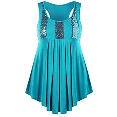 UOFOCO Summer T-Shirt Fashion Blouse Women Tank Casual Plus Size Sequins Glittery Pleated O-Neck Tops