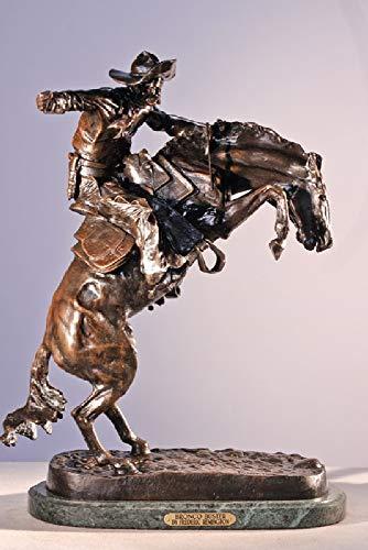 Artistic Solutions Frederic Remington Pure Bronze Bronco Buster Statue Sculpture – Medium Size