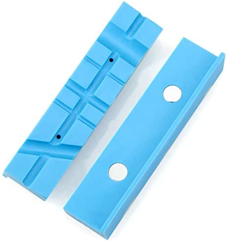 Magnetic Vise Jaws Non Marring Vice Jaw Pads Multi-Groove Design Magnetic?Vise?Soft Jaws for Gunsmithing Woodworking Jewelry Making Plumbing Blue 5-1/2 Inch(140mm)
