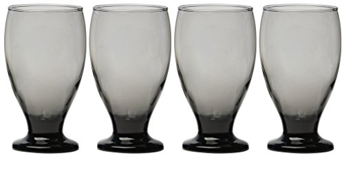Circleware Uptown Grey Glass Drinking Goblets, Set of 4, 12 ounce