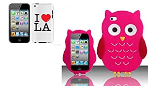 Combo pack Cellet Proguard With I Love L.A. for Apple iTouch 4 And For iPod Touch 4 - OWL 3D Silicon Skin Case - Hot Pink SCOWL
