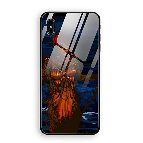 Halloween Guild Wars iPhone X Case, Tempered Glass Hard Back Cover with Soft TPU Bumper Edge Protection Support Wireless Charging -