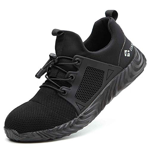 YING LAN Steel Toe Indestructible Work Shoes Men Women Lightweight Mesh Safety Industrial Construction Sneakers Black 11