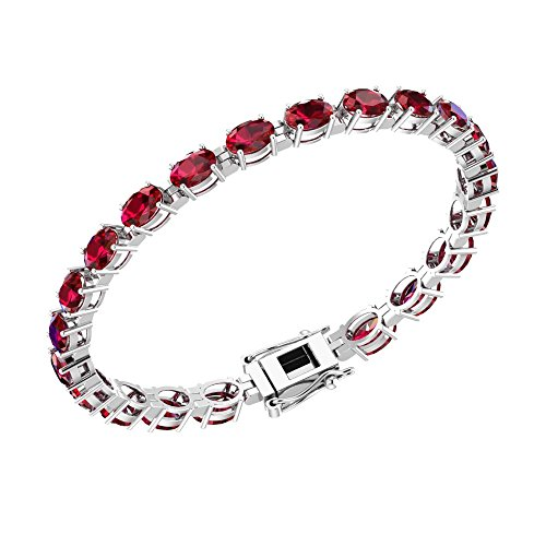 Solid Sterling Silver 6x4mm Oval Cut 11.34CTW Lab-Grown Ruby Tennis Bracelet for (Cut Lab Ruby)