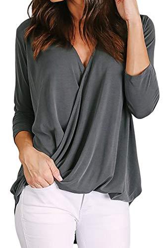 BTFBM Women V-Neck Wrap Front Irregular Twist Hem 3/4 Sleeve Solid Casual Loose Lightweight Shirts Blouses Tunic Tops (Grey, Medium)