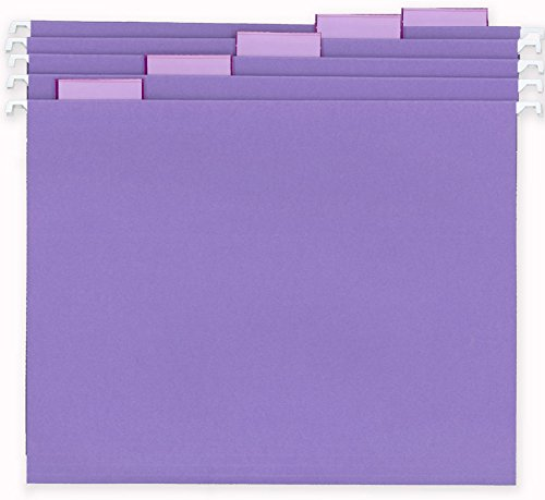 Staples Colored Hanging File Folders, Letter, 5 Tab, Purple, 25/Box