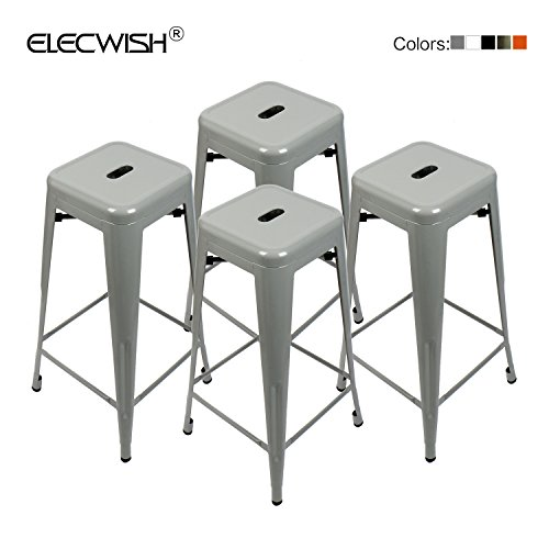 Elecwish 4 Set High Backless Metal Indoor-Outdoor Barstool with Square Seat (17