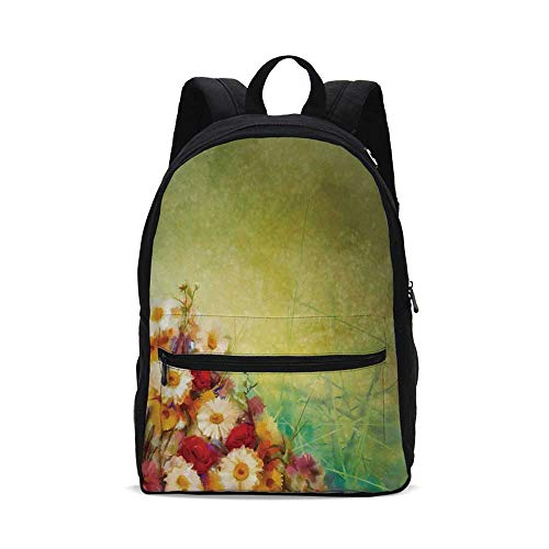 Watercolor Flower Home Decor Fashion Canvas printed Backpack,Romantic Bouquet Rose Chamomile Grunge Pastoral Scene Print for school,One_Size