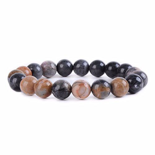 Picasso Bead Bracelet - Natural Picasso Jasper Gemstone 10mm Round Beads Stretch Bracelet 7
