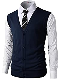 Mens Casual Slim Fit Knitted V-Neck Button-Down Vests Of Various Colors