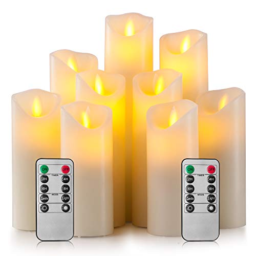 Enpornk Flameless Candles Led Electric Ivory Real Wax Battery Operated Candle Sets with Moving LED Flame & 10-Key Remote Control 2/4/6/8 Hours Timer, 4